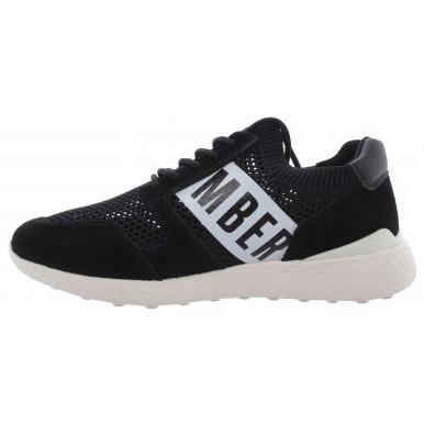 Men's Sneakers BIKKEMBERGS Sock Lycra Leather Black New