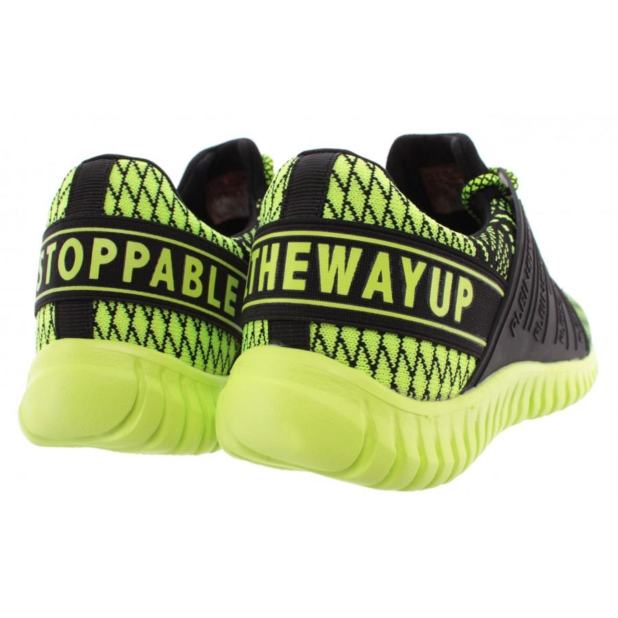 Men's Sneakers PLEIN SPORT Runner Mason Yellow Black Fluo New