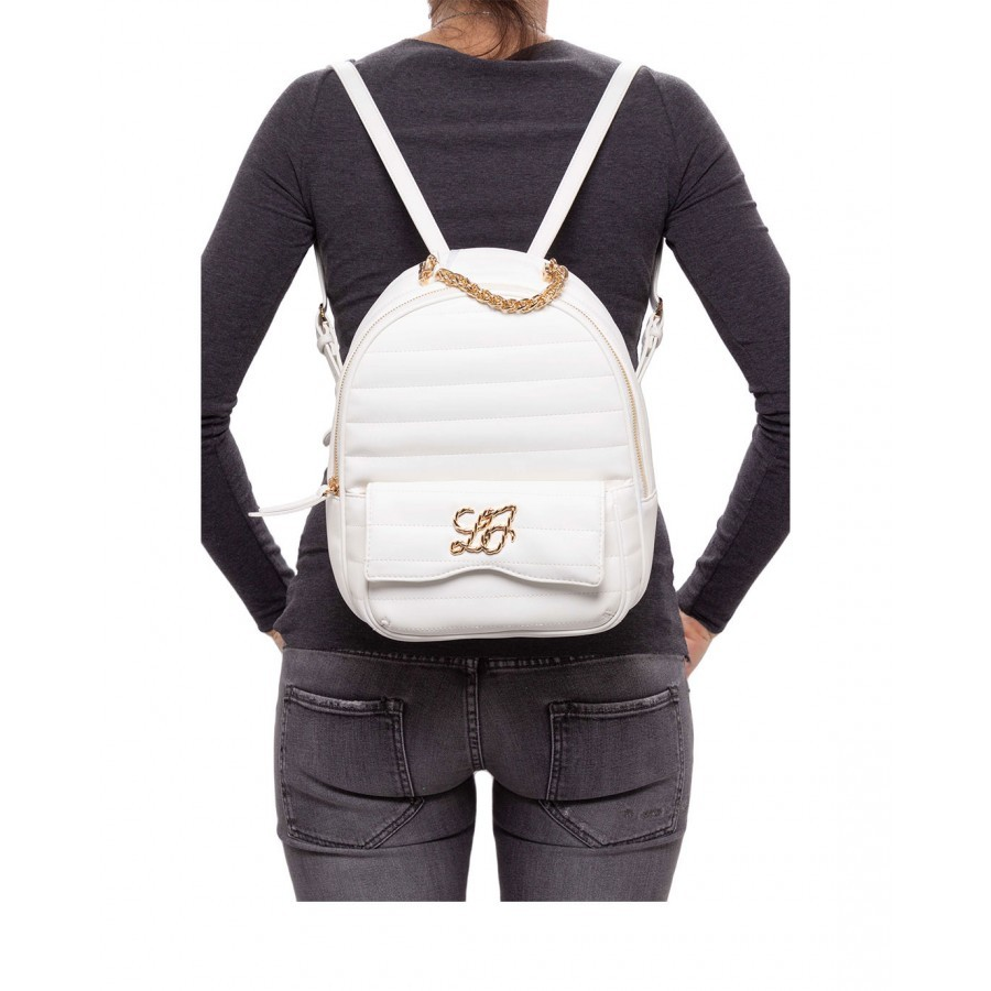 Women's Backpack LIU JO Milano AA1146 E0002 Off White Synthetic