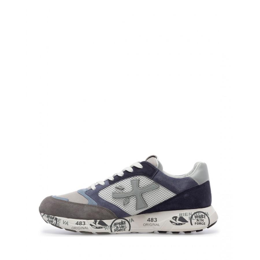 Sneakers Hombres PREMIATA Zac Zac 4613 Gamuza Tejido Gris Azul