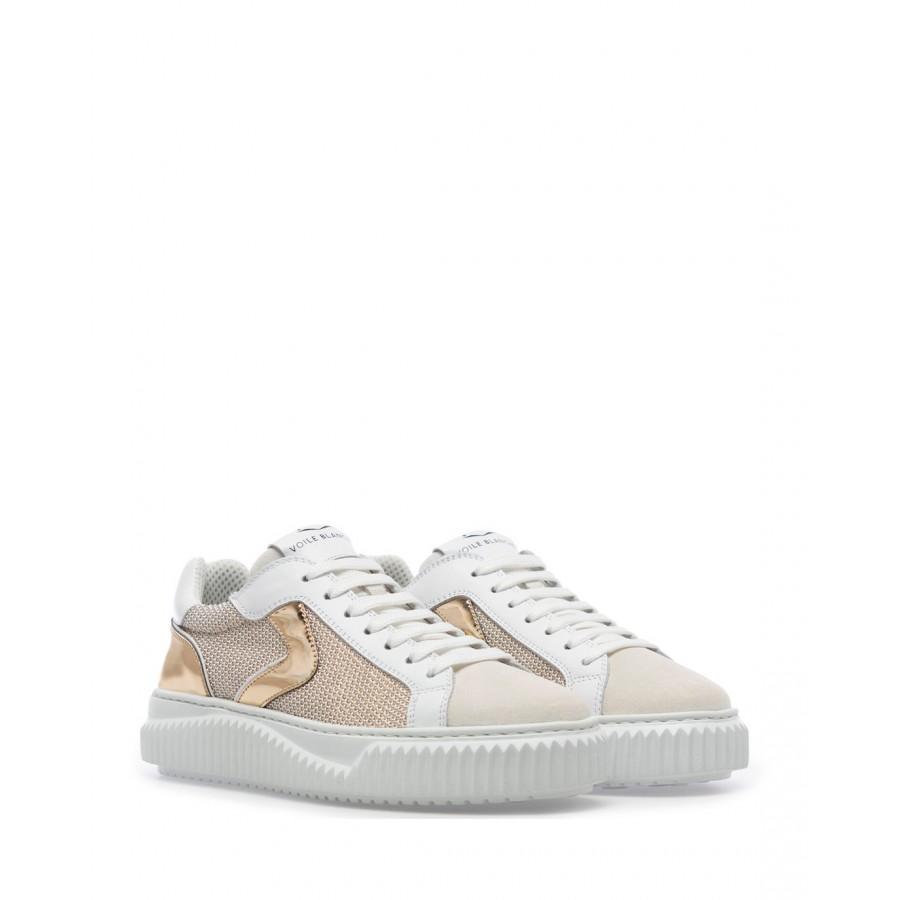 Sneakers Mujeres VOILE BLANCHE Lipari 1N55 White Gold Cuero Canvas Blanco