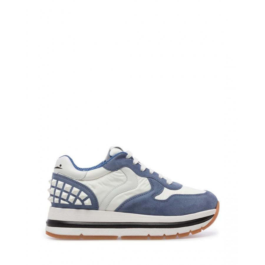 Sneakers Mujeres VOILE BLANCHE Maran 1C77 Light Blue Wh Gamuza Tejido Azul