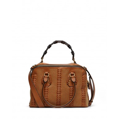 Woman's Hand Shoulder Bag LA CARRIE  FL201Lace Studs Synthetic Leather Brawn