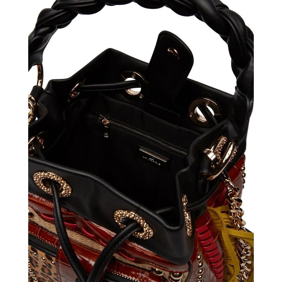 Woman's Bucket Hand Shoulder Bag LA CARRIE EM110 Jungle Synthetic Leather Brown