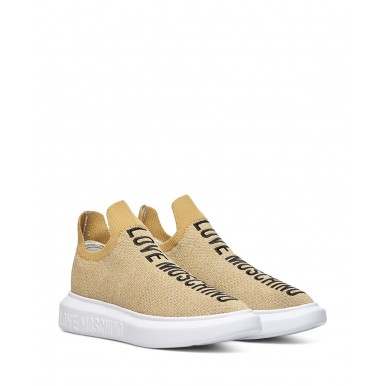 Women's Sneakers Shoes LOVE MOSCHINO JA15174 Lurex Platinoa Syntethic Beige