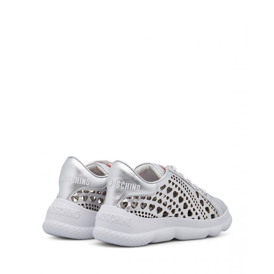 Women's Sneakers LOVE MOSCHINO JA15384 Lamin Argento Synthetic Leather Silver