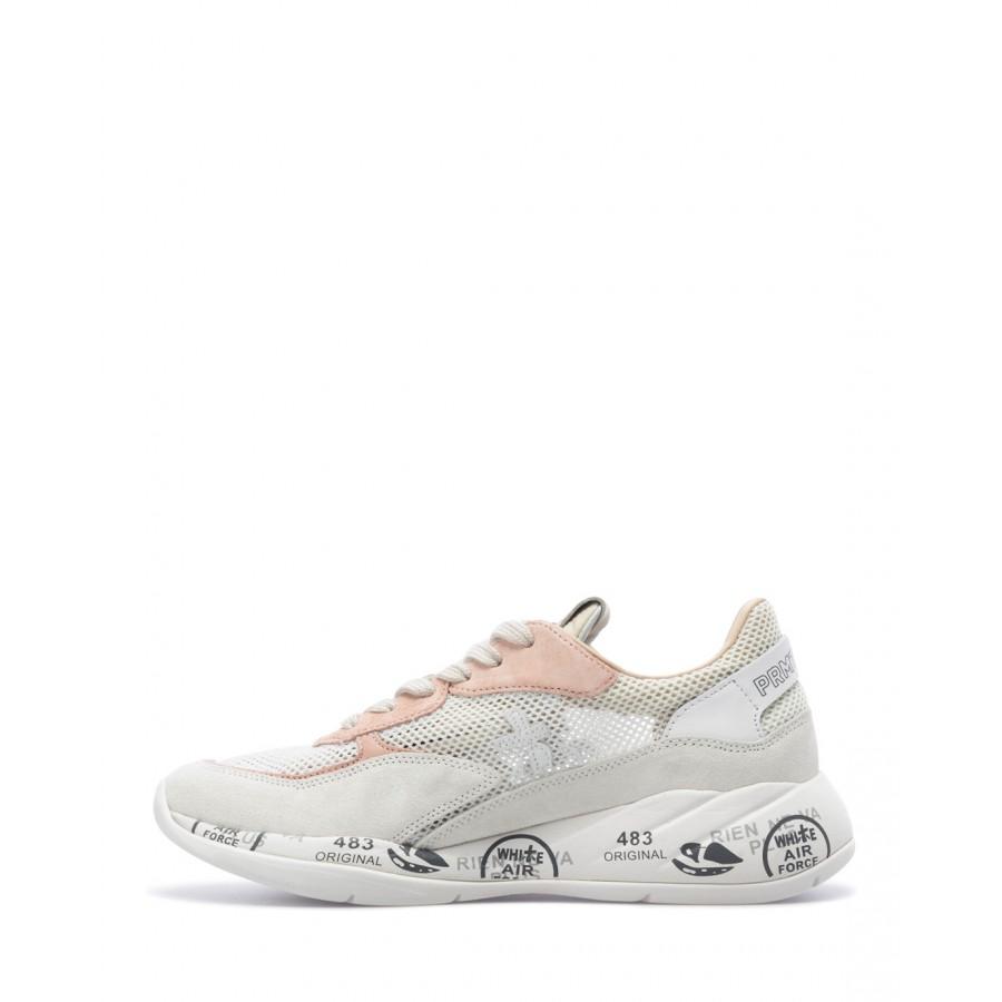 Women's Sneakers Shoes PREMIATA Scarlett 5230 Suede Canvas White Pink