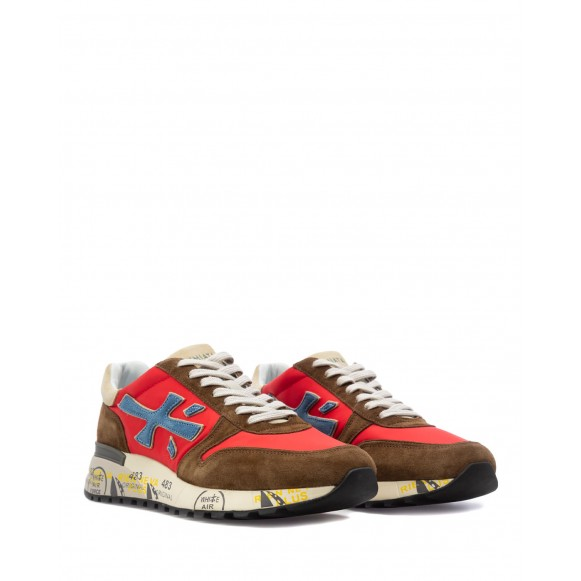 Men\'s Sneakers Shoes PREMIATA Mick 5193 Suede Fabric Brown Red