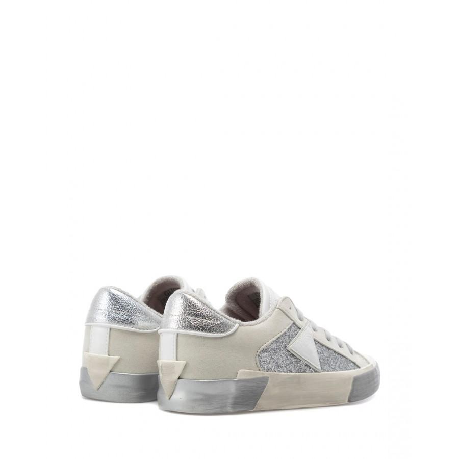 Women's Shoe Sneakers GUESS FL5WESLEL12 Sil Wh Synthetic Glitter White