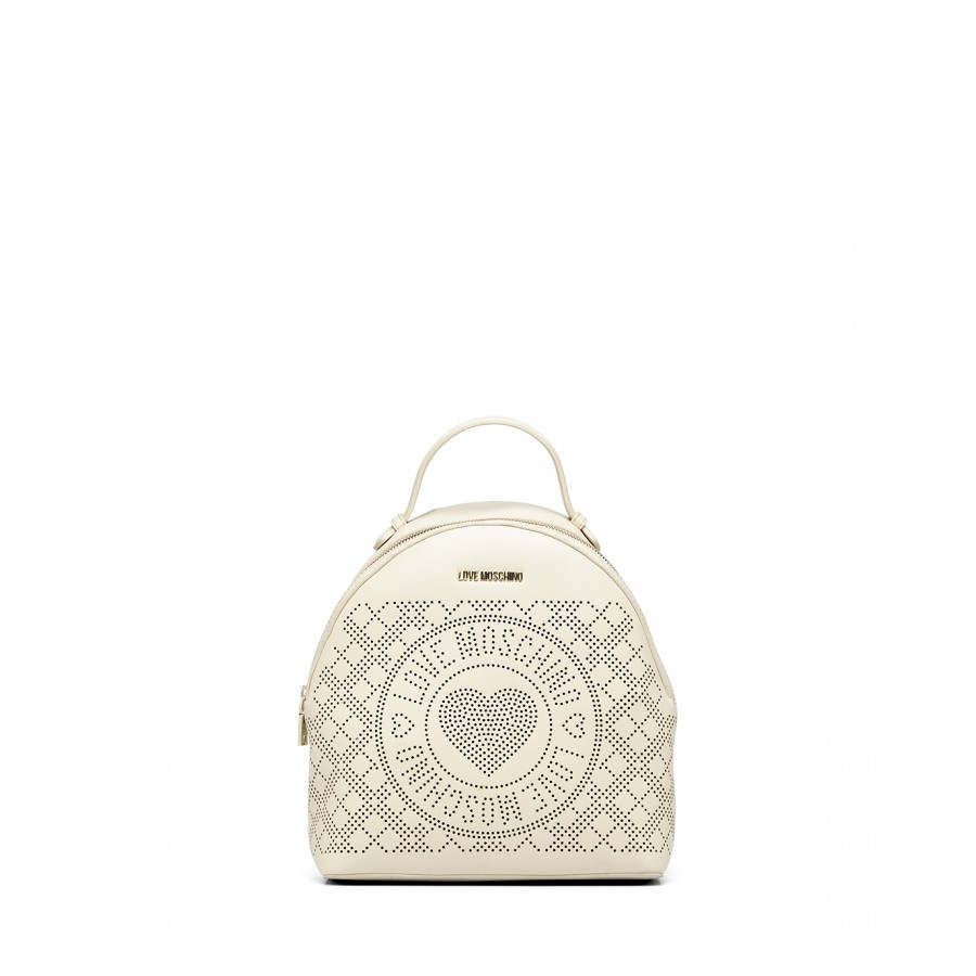 Women's Backpack LOVE MOSCHINO JC4214 Pu Synthetic Ivory  Black