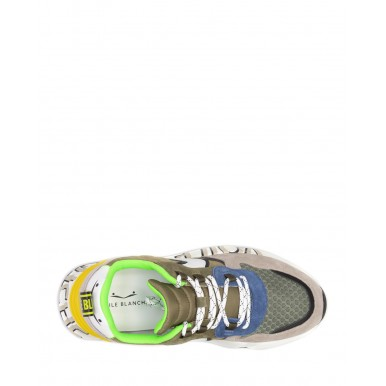Men's Shoes Sneakers VOILE BLANCHE Club Grey Army Leather Nylon Green