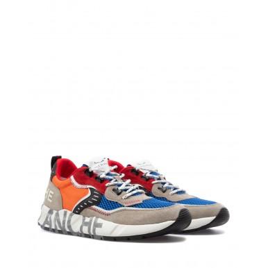 Men's Shoes Sneakers VOILE BLANCHE Club Grey Azure Orange Leather Nylon Multi
