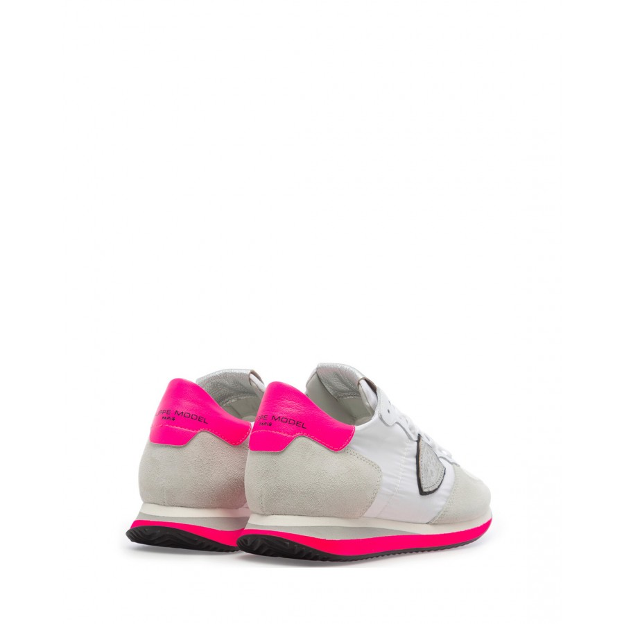 Women's Sneakers PHILIPPE MODEL TZLD WN10 Neon Blanc Suede Fabric White