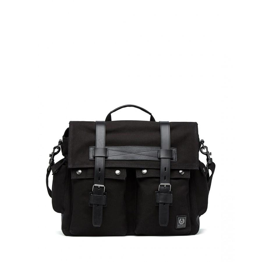 Men's Shoulder Bag BELSTAFF 75700025 Messanger Black Canvas Leather