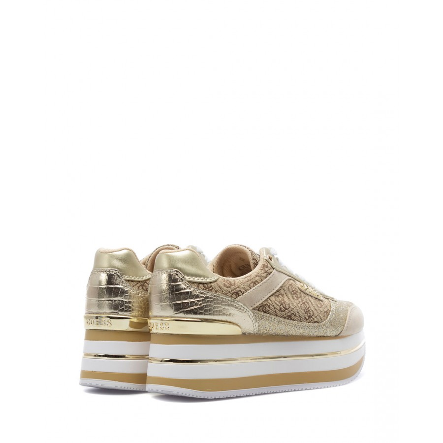Women's Sneakers Shoes GUESS FL5HNSFAL12 Beibr Leather Fabric Beige Gold