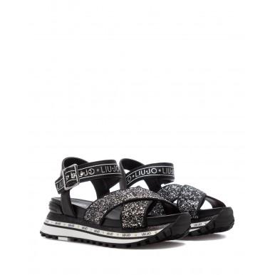 Women's Sandals LIU JO Milano Maxi Wonder 11 Black Leather Glitter