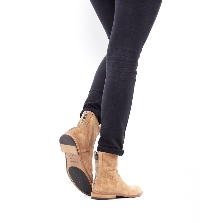 Women's Ankle Boots PANTANETTI 14100A Soffice Tabacco Suede Beige