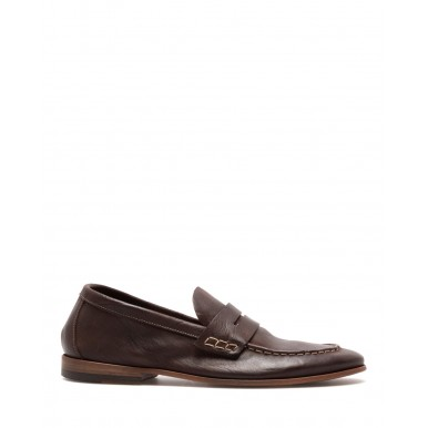 Men's Loafers Shoes PREVENTI Ascanio Mexico Caffe Leather Brown