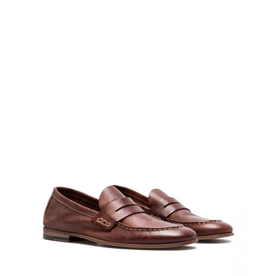 Men's Loafers Shoes PREVENTI Ascanio Mexico Ruggine Leather Brown