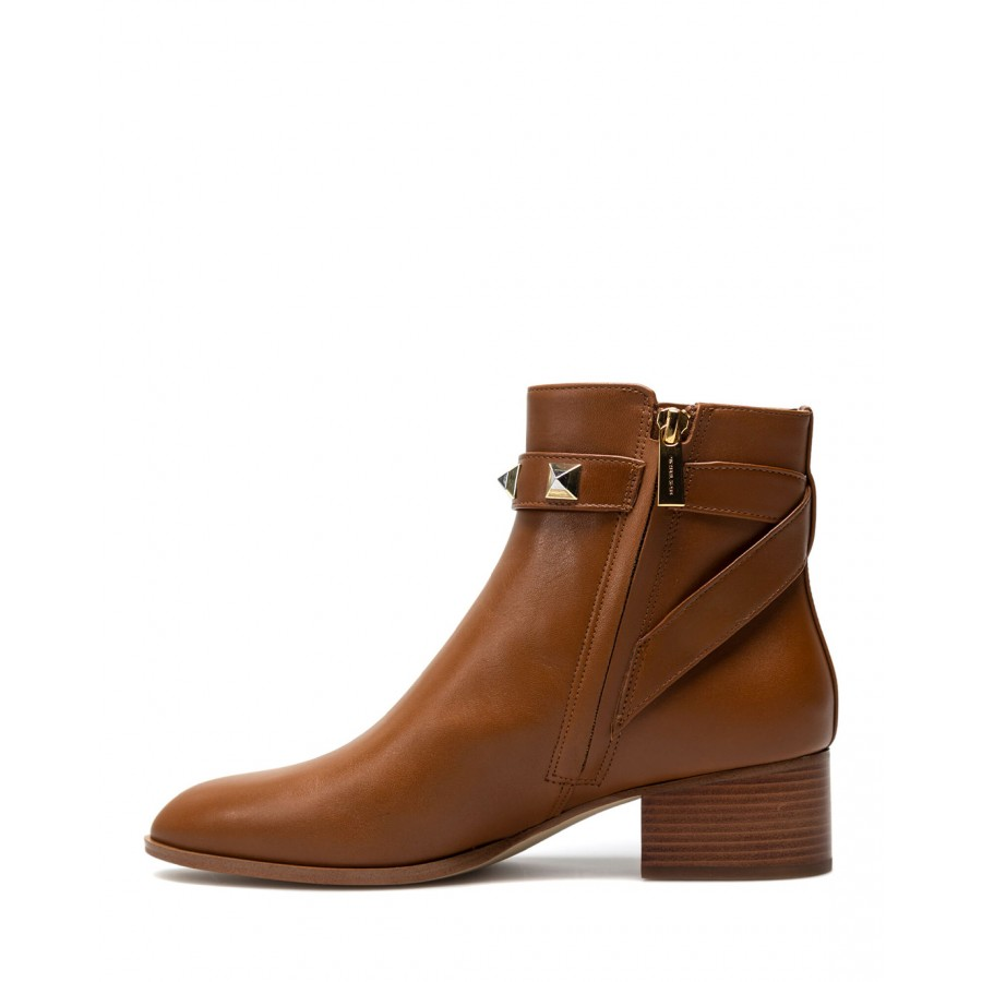 Women's Shoes Ankle Boots MICHAEL KORS Britton Luggage Leather Brown