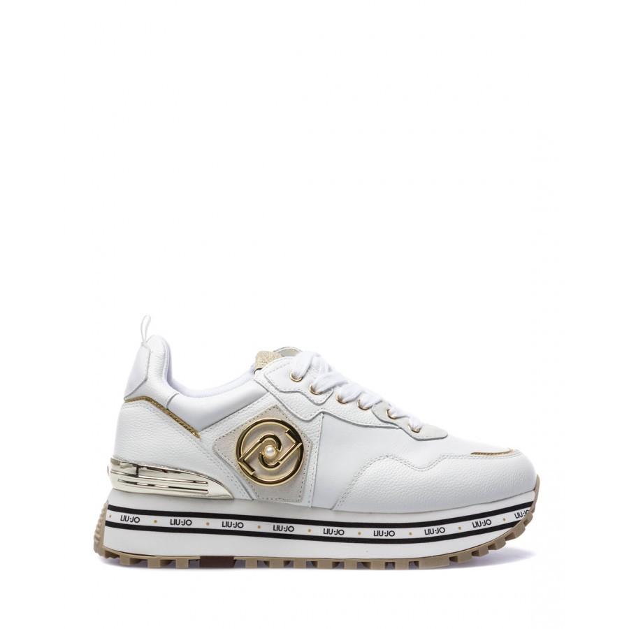 Women's Shoes Sneakers LIU JO Milano Maxi Wonder 1 Calf White Leather