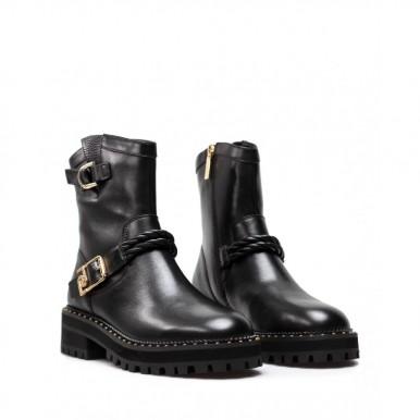 Women's Shoes Ankle Boots LIU JO Milano Pink 184 Biker Black Calf Leather