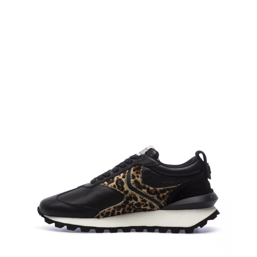 Women's Shoes Sneakers VOILE BLANCHE Qwark Black Leo Leather