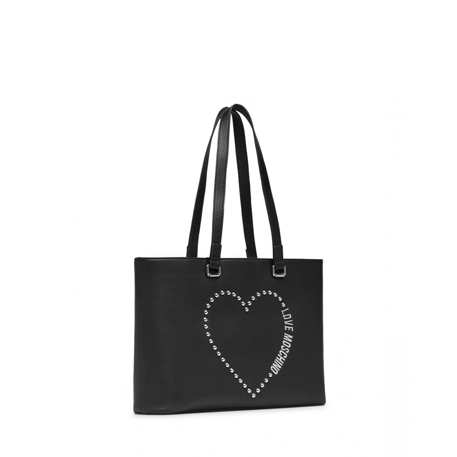 Women's Shoulder Hand Bag LOVE MOSCHINO JC4224 Tumbled Black Leather