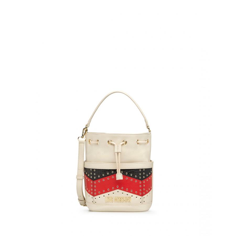 Women's Hand Schuolder Bag LOVE MOSCHINO JC4233 Ivory Black Red Calf Leather