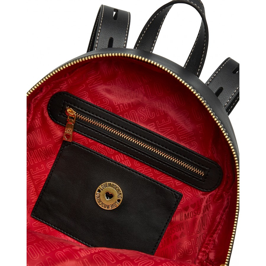 Women's Backpack LOVE MOSCHINO JC4200 Pu Black Synthetic Leather