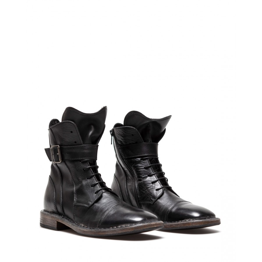 Women's Shoes Ankle Boots MOMA 1CW065 Dark Gray Anthracite Calf Leather