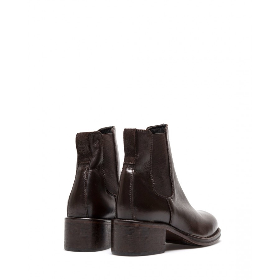 Women's Shoes Ankle Boots MOMA 1CW151 TMoro Calfskin Dark Brown Leather