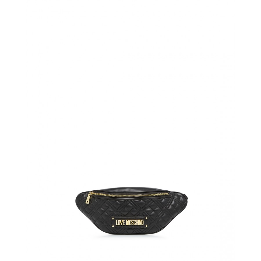 Woman's Shoulder Belt Bag LOVE MOSCHINO JC4137 Pu Black Synthetic Leather
