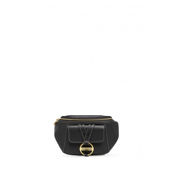 Women\'s Shoulder Belt Bag LOVE MOSCHINO JC4202 Pu Black Synthetic Leather