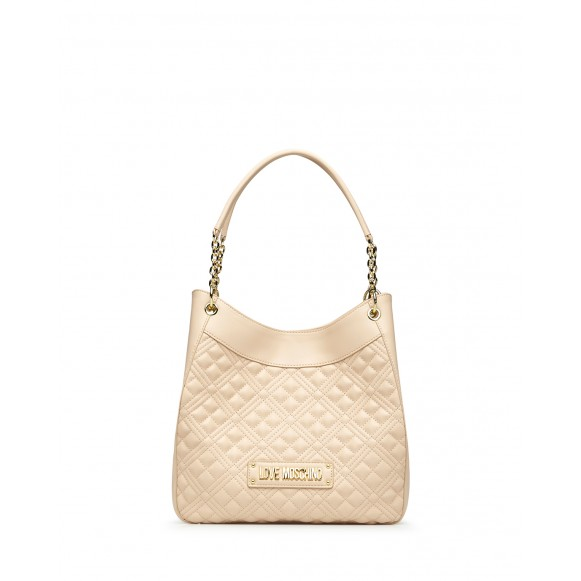 Women Hand Shoulder Bag LOVE MOSCHINO JC4014 Pu Natural Beige Synthetic Leather