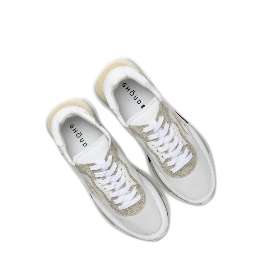 Women's Shoes Sneakers GHOUD RMLW LG28 Wht Plat Leather White Glitter