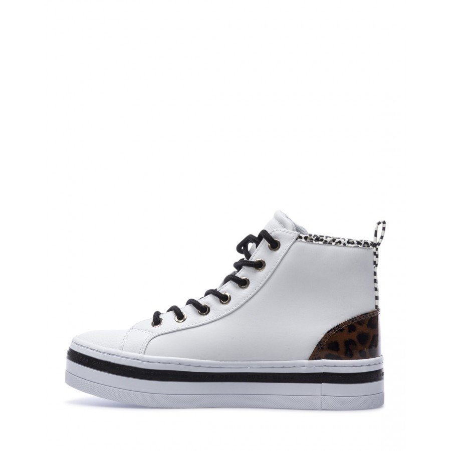Women's High Top Sneakers Shoes GUESS FL7BSGELE12 White