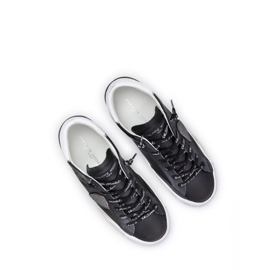 Women Shoes Sneakers PHILIPPE MODEL Paris PRLD MA01 Noir Argent Leather Schwarz