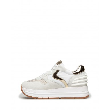 Women's Sneakers VOILE BLANCHE Maran 1N03 White Gold Leather Fabric