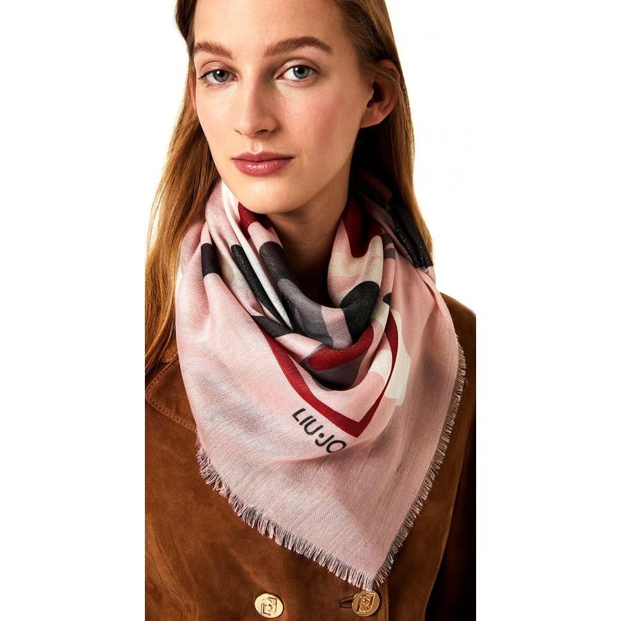 Women's Scarf Foulard LIU JO 2A0007 T0300 Cam Rose Viscose Pink