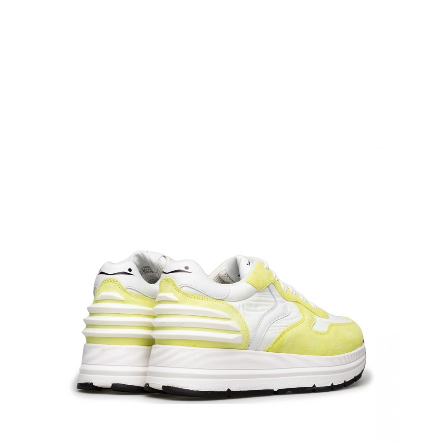 Women's Sneakers VOILE BLANCHE Maran 1G08 Lime White Leather Fabric