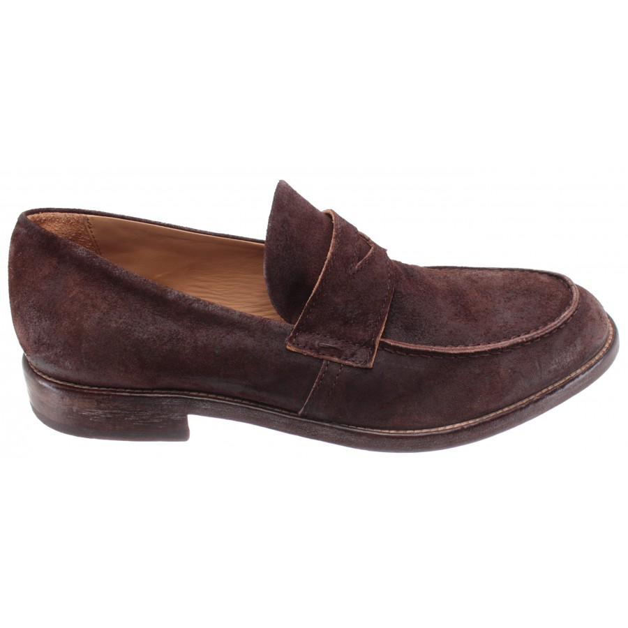 Men's Loafers Shoes MOMA 2ES022-BE Beat Leather Brown