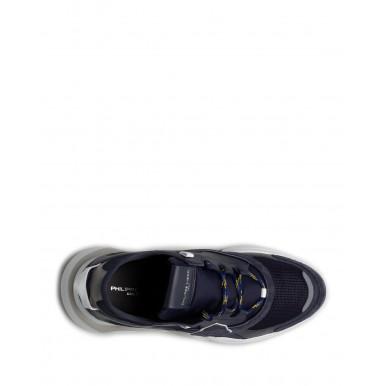 Men's Sneakers PHILIPPE MODEL Paris Ezlu WK11 Reseau Bleu Leather Fabric