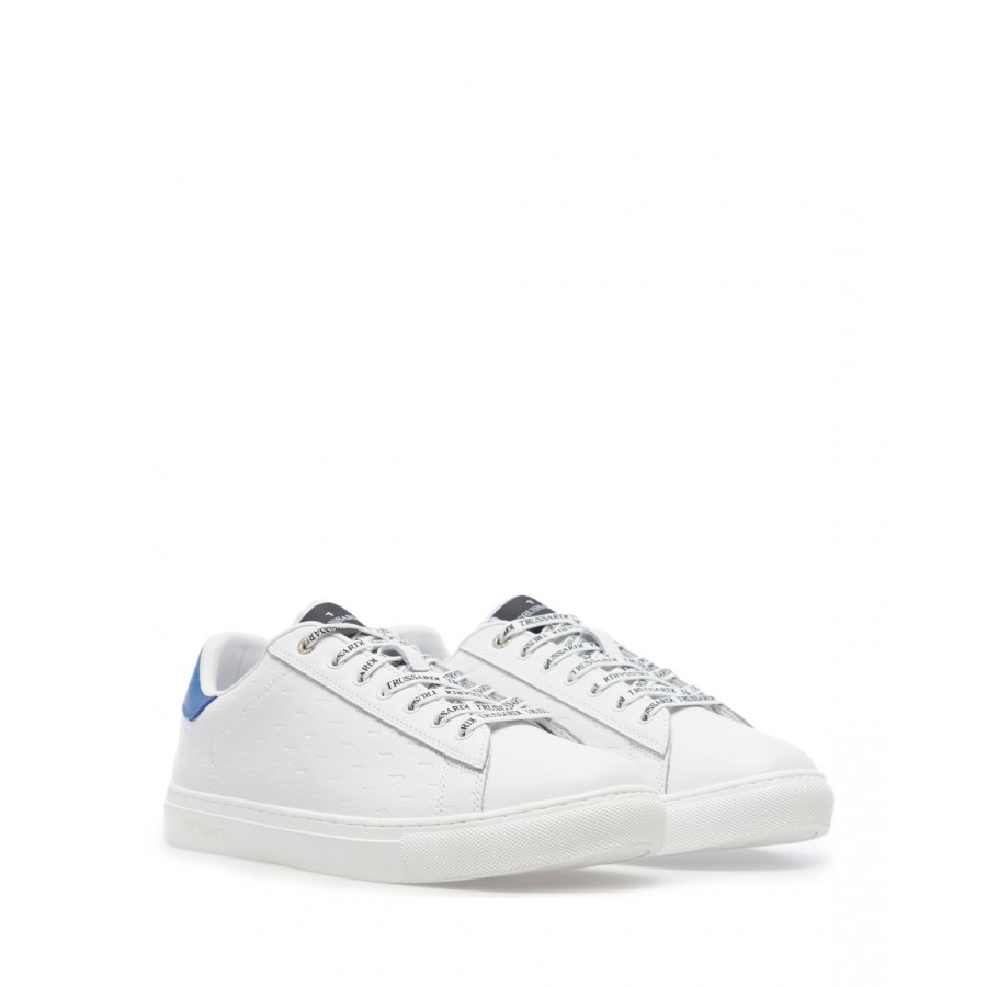 Men's Sneakers Shoes TRUSSARDI Danus White Blue Leather Synthetic